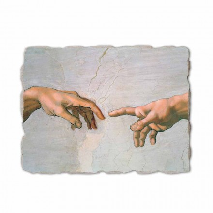 The Creation of Adam by Michelangelo, hand-painted (detail)