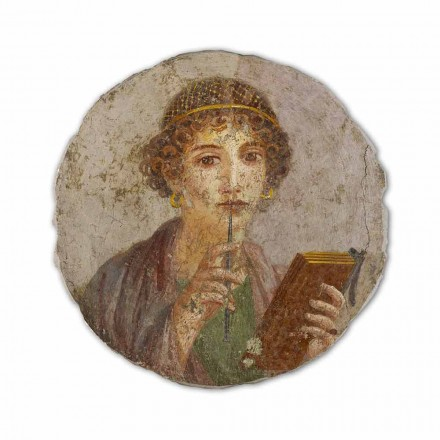 The Poetess, Roman art, hand-painted fresco