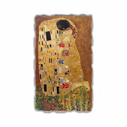 The Kiss by Gustav Klimt, hand-painted fresco