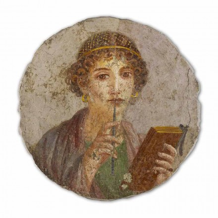 The Poetess, Roman art, hand-painted fresco, big size