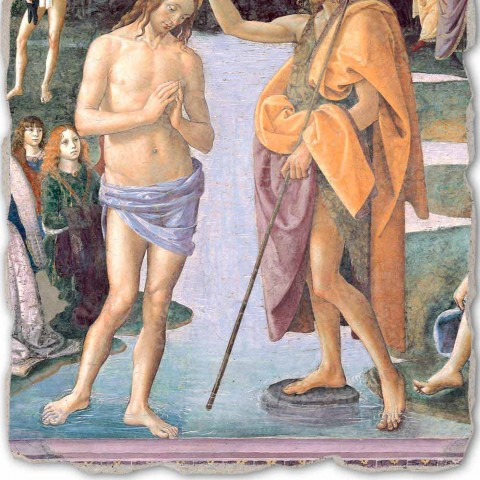 "Perugino fresco reproduction ""Baptism of Christ"""