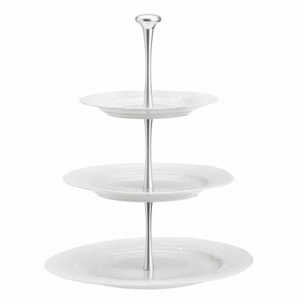 White Porcelain 3 Tier Round Cake or Buffet Stand - Gimignano