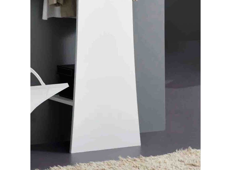 Arched Glossy White Wood Entrance Wall Coat Rack - Sabine