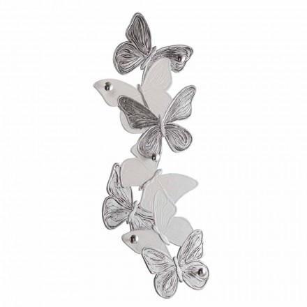 Handmade butterflies wall mounted coat hanger, made in Italy