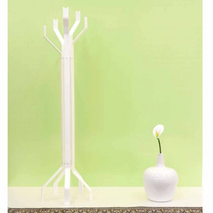 White coat stand with 5 hooks, modern design, Andrea