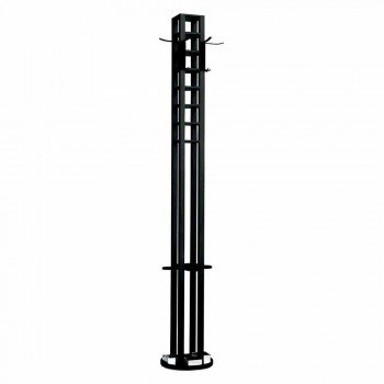 Black Ash Floor Coat Stand with Chrome Details Made in Italy - Etna