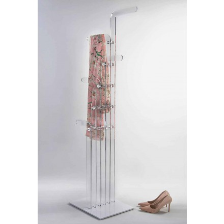Modern coat stand shaped in acrylic crystal, Elva