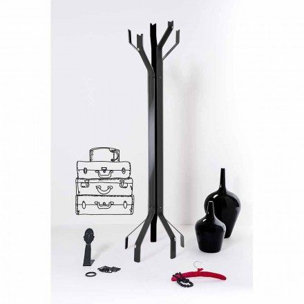 Black coat stand with 5 hooks modern design, Andrea