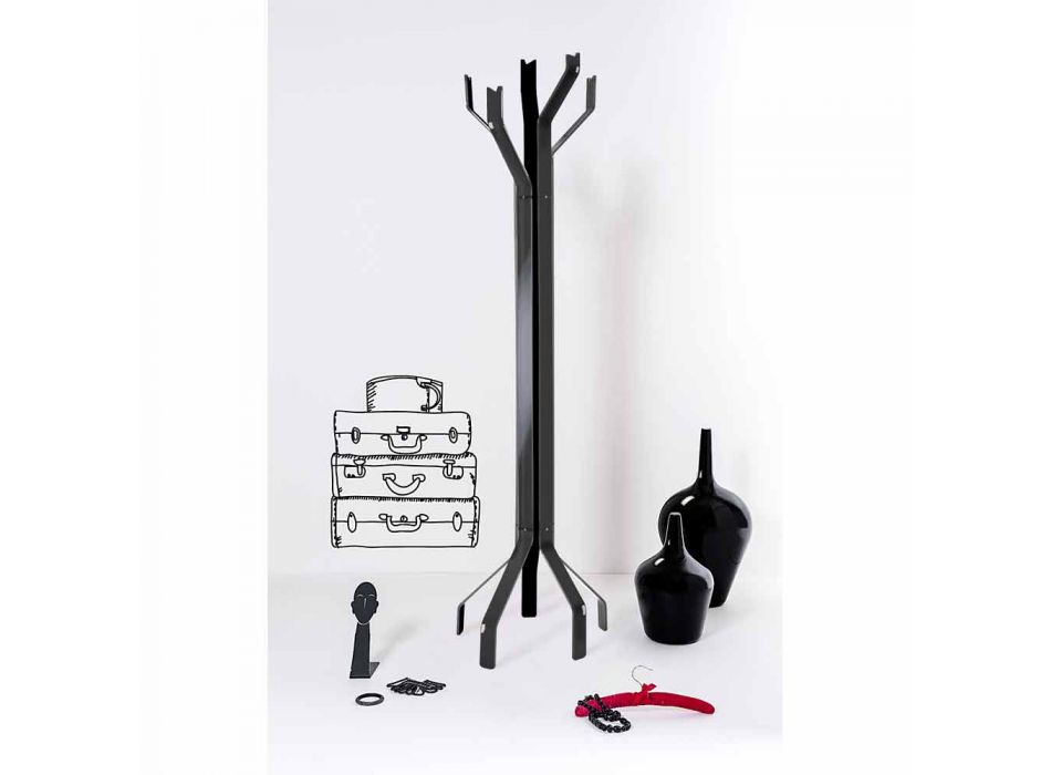 Black floor stand with 5 Andrea hooks, modern design