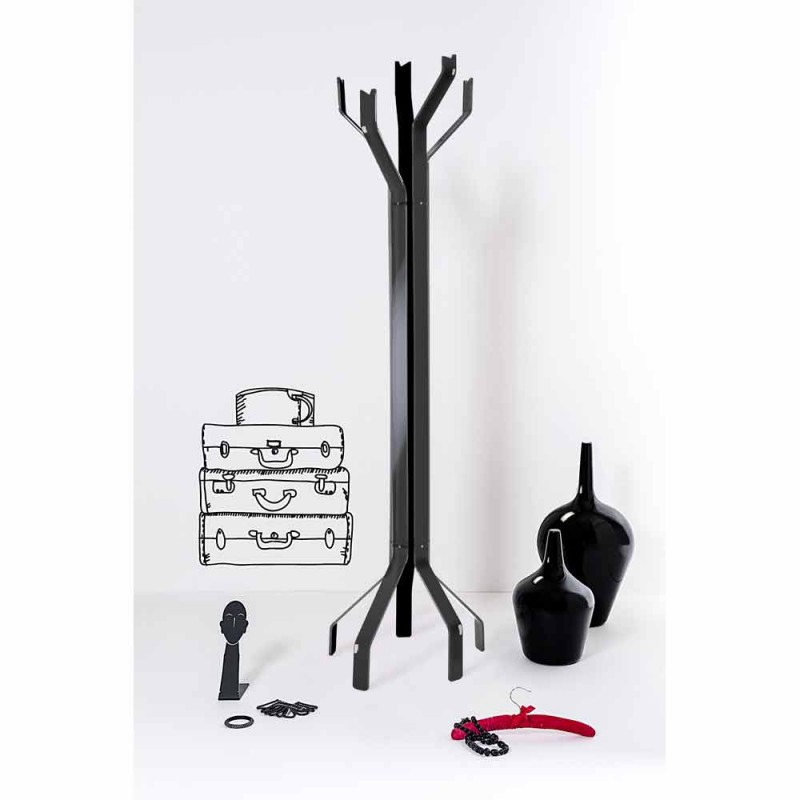 Black floor stand with 5 Andrea hooks, modern design
