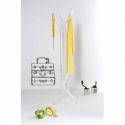 Transparent freestanding coat hanger with a modern design Andrea