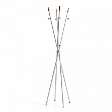 Modern design coat stand Alix, in white and natural wood