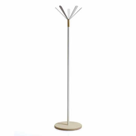 Modern design coat stand Zena, painted metal and natural wooden base