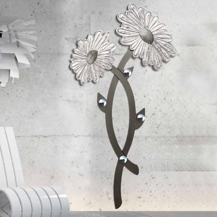 Wall coat rack Clarke, silver colour, modern design
