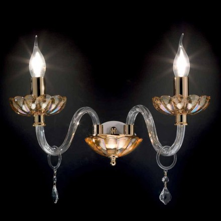 Classic design 2-lights wall sconce Belle, made of glass and crystal