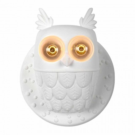 Wall Sconce 2 Lights in Matt White Ceramic Modern Design Owl - Owl