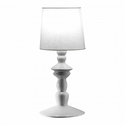 Wall Lamp in Paintable Ceramic and Lampshade in White Linen - Cadabra