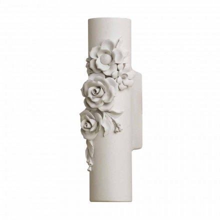 Wall Sconce in Matt White Ceramic with Decorative Flowers - Revolution