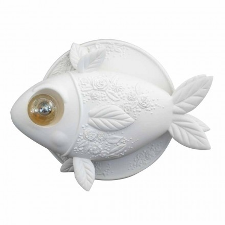 Wall Sconce in Matt White Ceramic Design with Decorated Fish - Fish