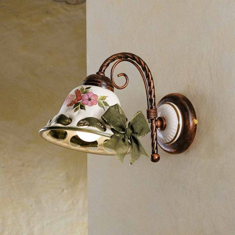 Sconce ceramic wall decorated rustic Ferroluce Napoli