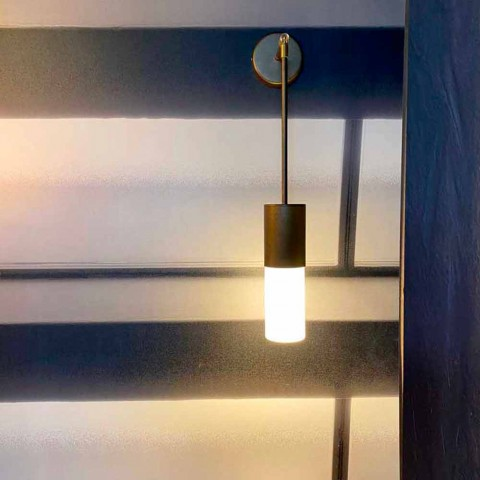 Artisan Wall Lamp in Aluminum and Satin Glass Made in Italy - Master