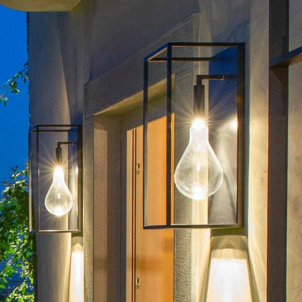 Outdoor Iron Wall Lamp with Warm LED Light and Glass Made in Italy - Falda