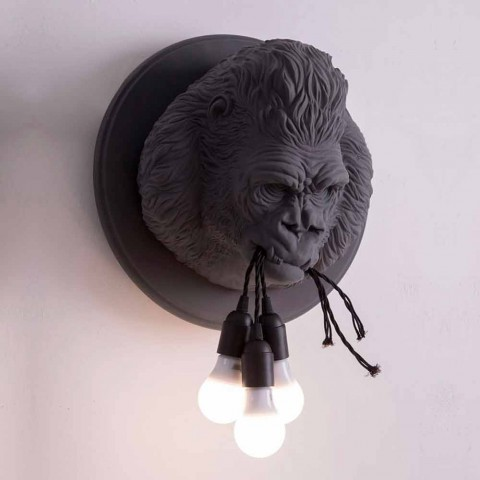 3 Lights Wall Lamp in Gorilla Ceramic Gray or White Design - Rillago