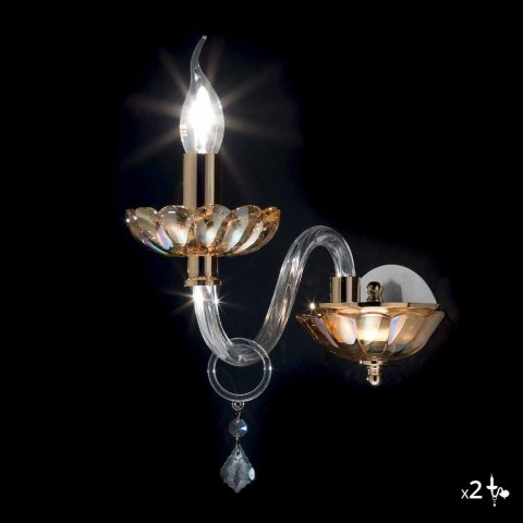 Classic glass wall light in crystal and glass Belle, 2 pieces