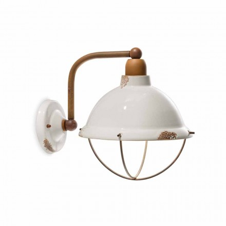 Industrial-style ceramic and metal wall light Skyler