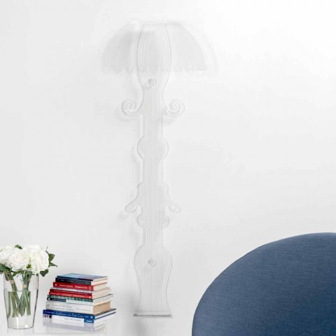 Design sconce in transparent plexiglass produced in Italy, Scilla