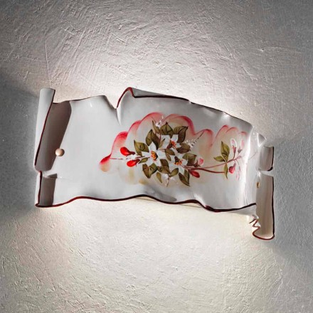 Hand-decorated ceramic wall sconce made in Italy by Ferroluce