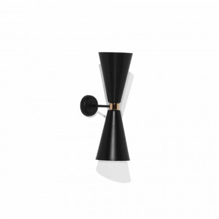 Modern Wall Lamp with Matt Black Metal Structure Made in Italy - Zaira