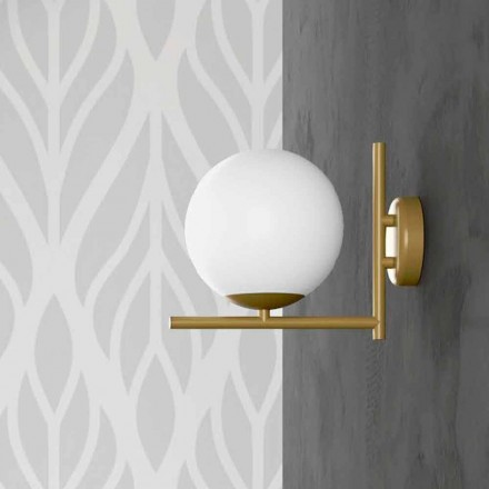 Modern Wall Lamp in Metal Brass Finish and Opal Glass Made in Italy - Carima