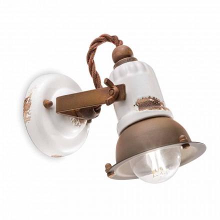 Kendra adjustable ceramic and metal spotlight applique by Ferroluce