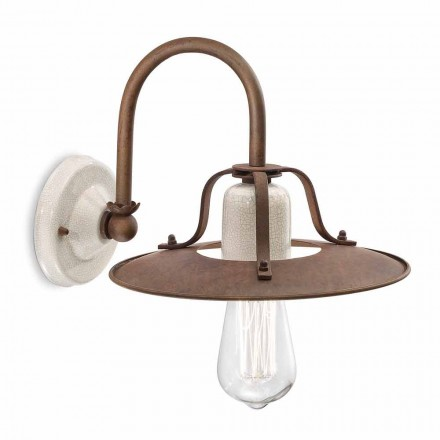 Industrial design wall sconce made of ceramic and metal by Ferroluce