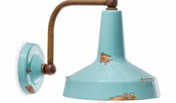 Sandra handmade ceramic spotlight with vintage effect by ferroluce