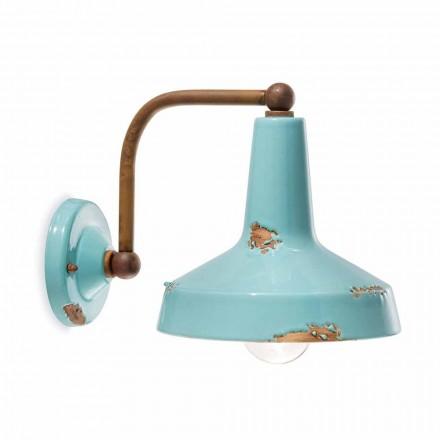 Sandra handmade ceramic spotlight applique with vintage effect by Ferroluce