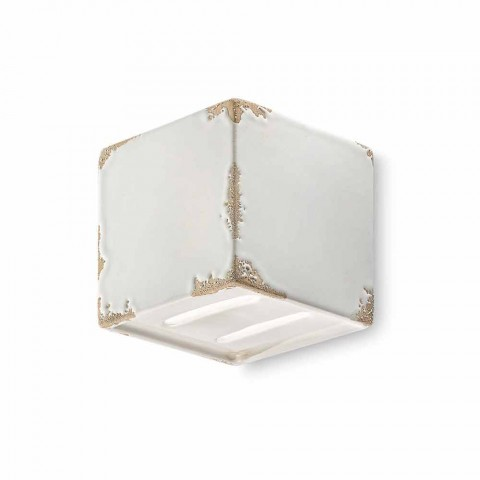 Applique vintage shaped ceramic cube Connie Ferroluce