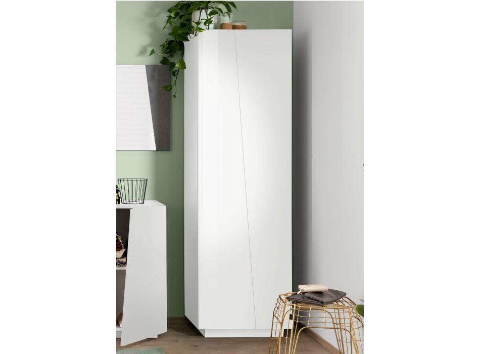 2-Door Wardrobe in Sustainable White or Slate Melamine Wood - Joris