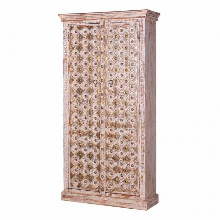 2 Doors Bleached Mango Wood and Gold Vintage Style Wardrobe - Saveriogold