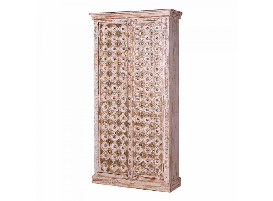 2 Doors Bleached Mango Wood and Gold Vintage Style Wardrobe - Saverio2gold