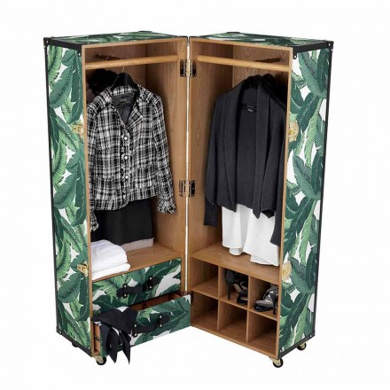 Modern Wardrobe with Wheels in Mdf, Veneered Wood and Fabric - Amazonia