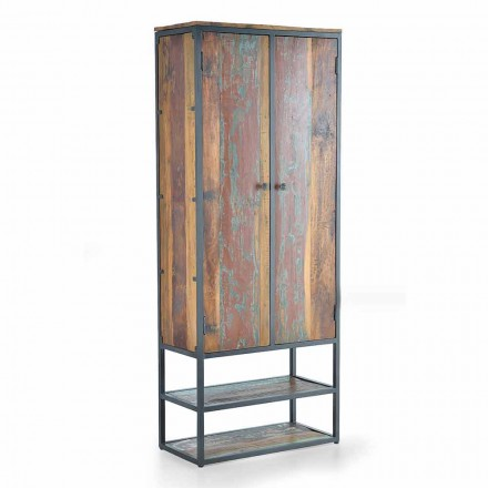 Vintage Design Recycled Wood Living Room Wardrobe with Shelves - Goodbye