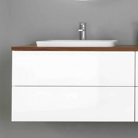 Bathroom Furniture in White and Walnut Wood with Washbasin, Wall Unit and Mirror - Renga