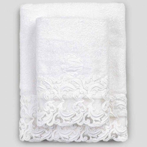 White Cotton Terry Towels with Lace 2 Pieces Italian Luxury - Spouses