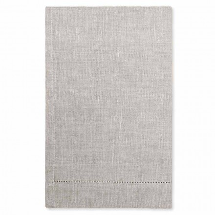White or Natural Linen Bath Towel Made in Italy - Chiana