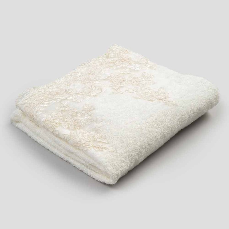 Cotton Terry Face Towel with Lace and Linen Blend Edge - Ginova