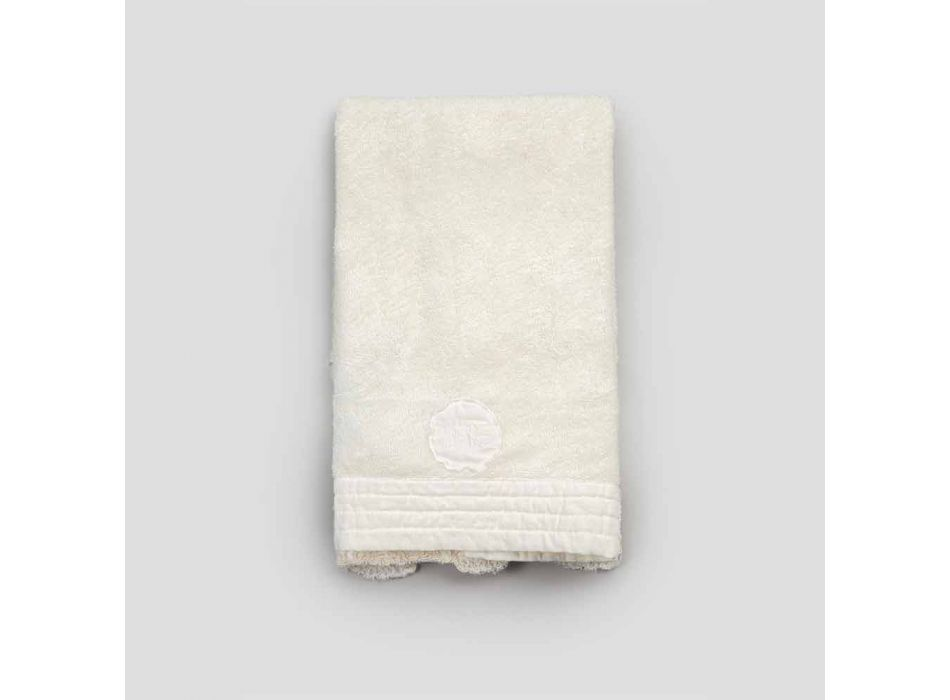 Guest Towel in Terry Cotton and Linen Blend Edge with Lace - Ginova