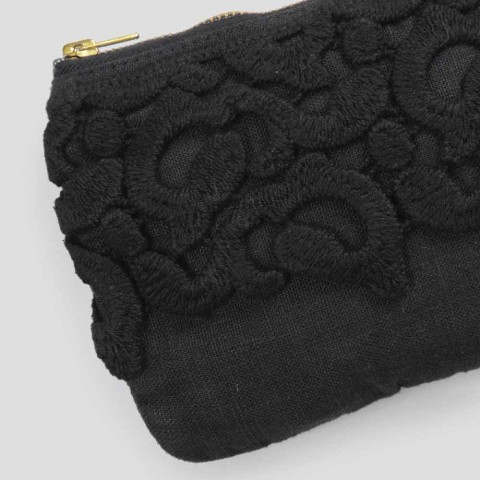 Black or Pink Linen Case with Lace and Zipper 3 Dimensions 2 Pieces - Lullabi