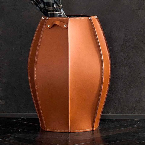 Audrey umbrella stand with modern design in leather, made in Italy